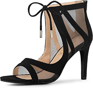 Women's Mesh Open Toe Stiletto Strappy Heel Sandals