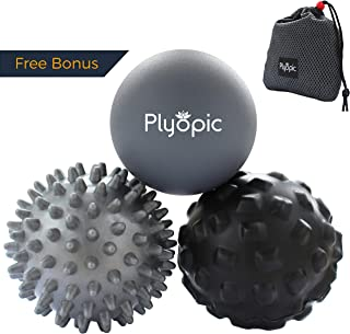 Plyopic Massage Ball Set - Includes Rubber, Spiky and Foam Roller Massager Balls - 7cm   for Myofascial Release, Trigger Point Relief, Plantar Fasciitis Therapy. Eliminate Muscle Pain: Back Neck Foot