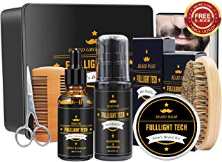 Ultimate Beard Grooming & Growth Kit Gifts for Men/Dad/Husband/Him in Metal Gift Box with Beard Shampoo,Beard Oil Conditioner,Beard Balm,Beard Brush,Comb,Mustache Scissors