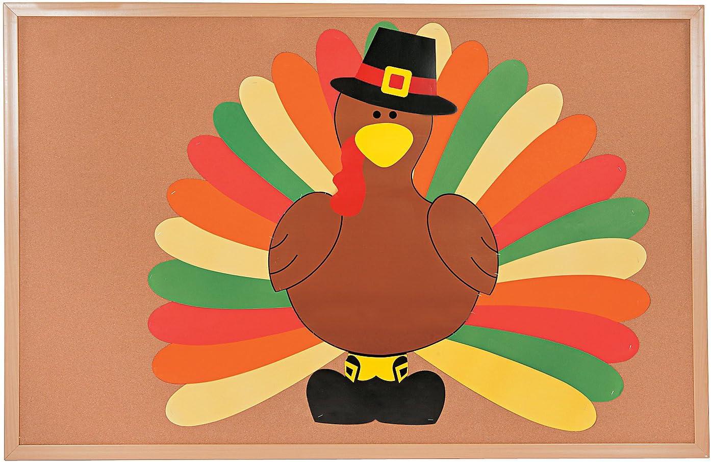 Amazon Com Fun Express Diy Turkey Bulletin Board Set 3 Feet Tall 26 Pieces Thanksgiving Classroom Decor Toys Games