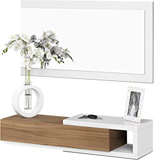 Habitdesign 0N6743A - Recibidor con cajón + Espejo Medidas 19 x 95 x 26 cm de Fondo (Blanco Artik y Nogal)