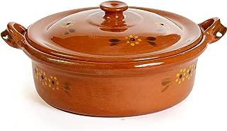 Ancient Cookware Mexican Flat Clay Cazuela, 3 qt