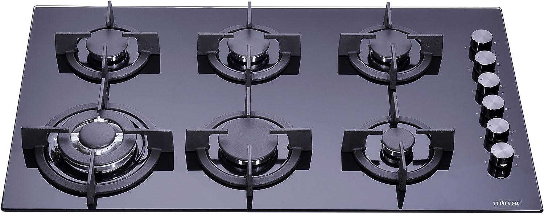 Más asequible Millar Millar Millar gh9061pb hobs de 90cm cristal templado negro 6quemadores de gas  tienda de descuento