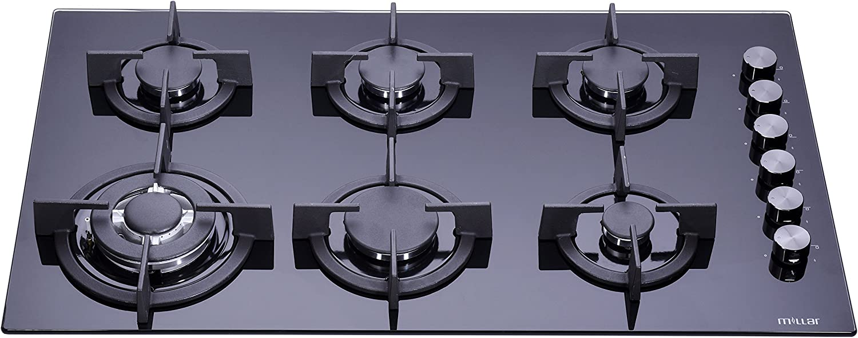 envio rapido a ti Millar Millar Millar gh9061pb hobs de 90cm cristal templado negro 6quemadores de gas  ventas de salida