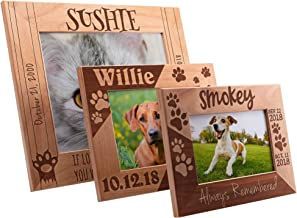 Be Burgundy Memorial Pet Picture Frames Alder Wood 4x6, 5x7, 8x10-6 Design, Personalized Picture Frames, Pet Loss Gift, A Beautiful Remembrance Gift for a Grieving Pet Owner