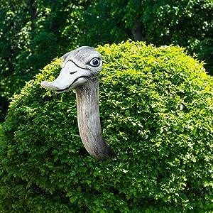 Novelty Ostrich Garden Statue,Creative Ostrich Head Sculptures Yard Hedge-Gazer Art Decor,Resin Handcrafted Ostrich Hedge Watcher for Outdoor Garden Street Flower Pot (1PC)