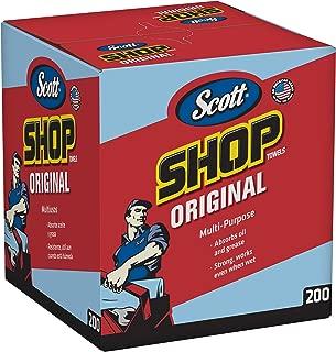 "Scott Shop Towels Original (75190), Blue, Pop-Up Dispenser Box, 10"" x 12"", 200 Sheets / Box, 8 Boxes / Case, 1,600 Towels / Case"
