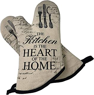 Treesine Kitchen Oven Mitts, Cotton Long Microwave Oven Gloves, Extreme Heat Resistant 572 Degrees Nonslip Gloves for Potholders Cooking, BBQ, Food, Grilling, Frying, Baking Premium Durable Mitts