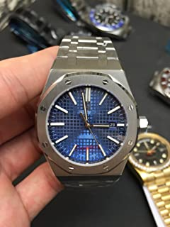 Luxury Brand Stainless Steel Silver Color Blue dial Automatic Movement Oak Watch Watches
