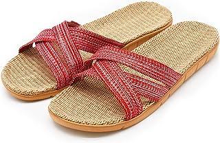 R-ISLAND Ciabatte Donna Estive Pantofole di Lino Pantofole da Casa Antiscivolo Traspirante Scarpe da Spiaggia Calzature Ad...