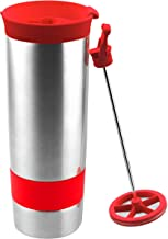 Asobu The Hot coffee and tea press Vacuum Insulated Travel Mug, 16 ounce, Stainless Steel, Red