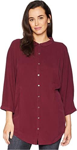 Sandwashed Twill Dolman Sleeve Button Front Shirt