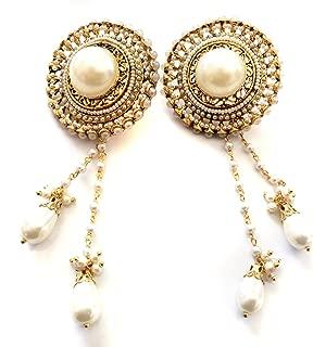 PEARL Kashmiri Earrings,Gold Chandelier earrings,Bridal wedding earrings TANEESI