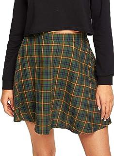 WDIRARA Women's Casual Plaid High Waist Pleated A-Line Mini Skirt