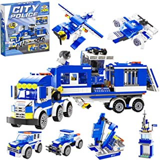 QLT City Police Station Building Kit,Compatible with Lego Police City Station,8 in 1 Mobile Command Center Toy,Cop Car,Hel...