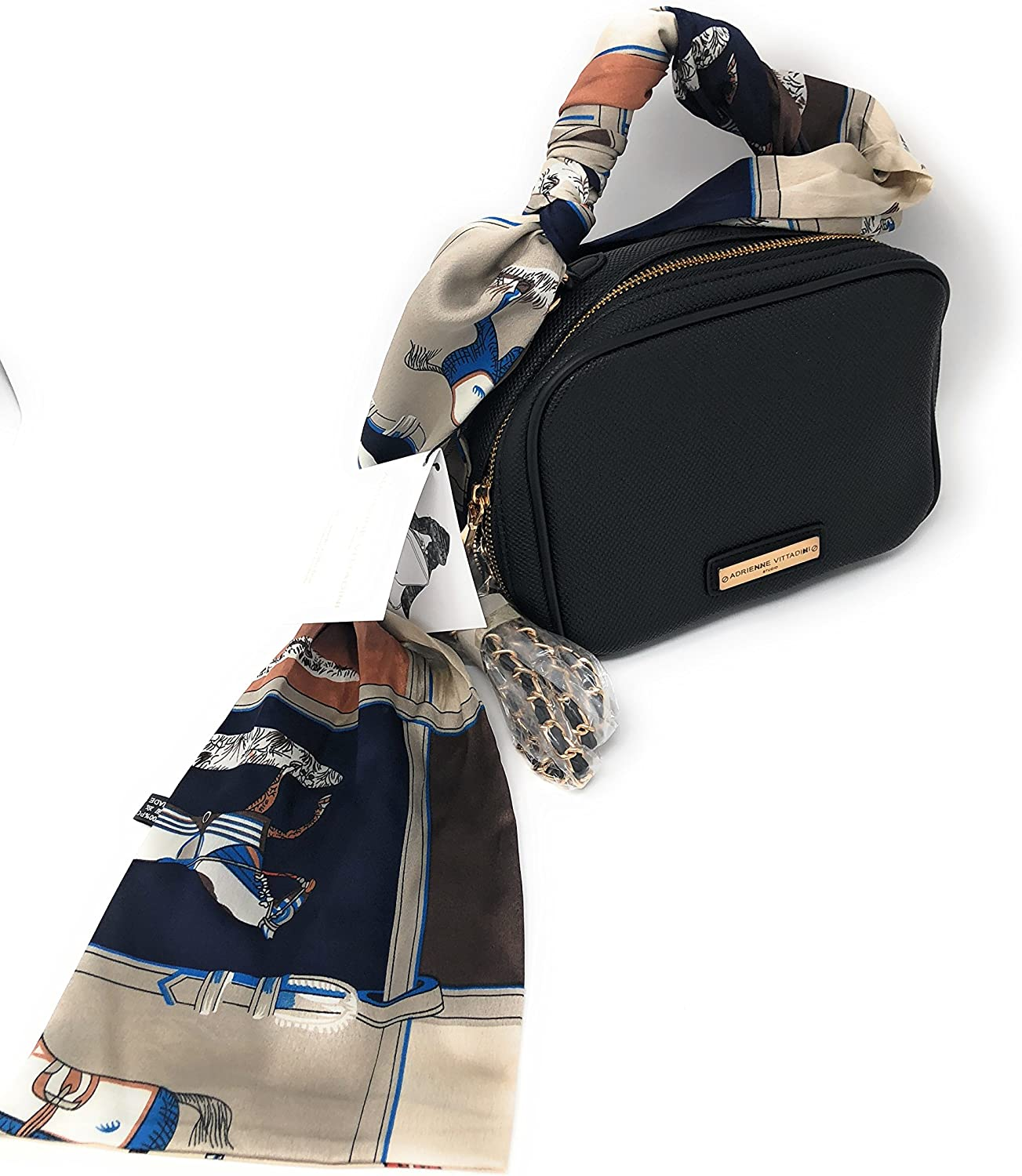 Adrienne Vittadini PU Handbag With Interior Organizer  Snake Embossed Black color with colorful Horses on Silk Scarf
