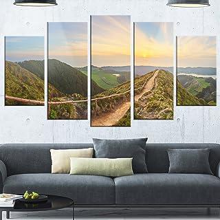Designart Hiking Trail and Beautiful Lakes - Contemporary Landscape Glossy Metal Wall Art, 32'' Hx60'' Wx1'' D 5PD