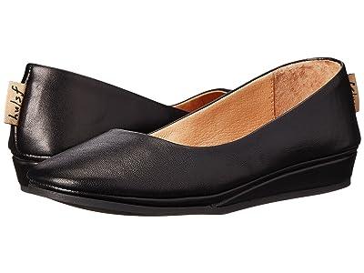 French Sole Zeppa Flat (Black Nappa) Women