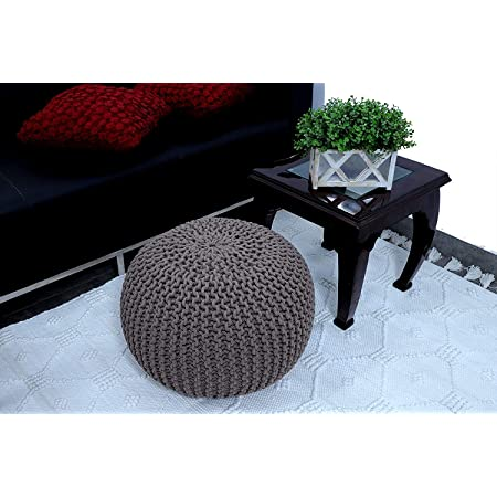 Generic Cotton Knitted Pouf Ottoman Foot Stool/for Living Room/Bedroom Hall/Pouf Ball Chair/Pouf exterieur Ball/Round Ball (Medium, Grey)