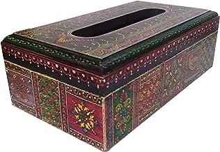 Purpledip 木质纸巾盒纸巾架:手绘餐厨房配件 (11797)