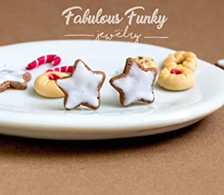 Cinnamon star Cookie Studs - Christmas - Biscuits - Small Studs - Polymer Clay - Fimo - thin Food - Candy