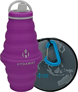 HYDAWAY Hydration Travel Pack | 25 oz Collapsible Water Bottle with Spout Lid and Compact Travel Case with Carry Clip