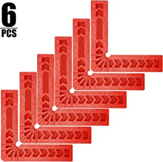 KINJOEK 6 PCS 4 Inch 90 Degree Positioning Squares, Right Angle Clamps Woodworking Carpenter Corner Clamping Square Tool for Picture Frames, Boxes, Cabinets or Drawers, Red