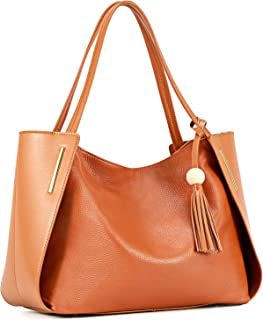 Kattee Leather Tote Shoulder Bag with Tassel Decoration