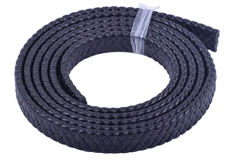 KONMAY 2 Yards Fold Flat Braided Real Leather Cord Straps for Jewelry Making, 10.0x3.0mm Black