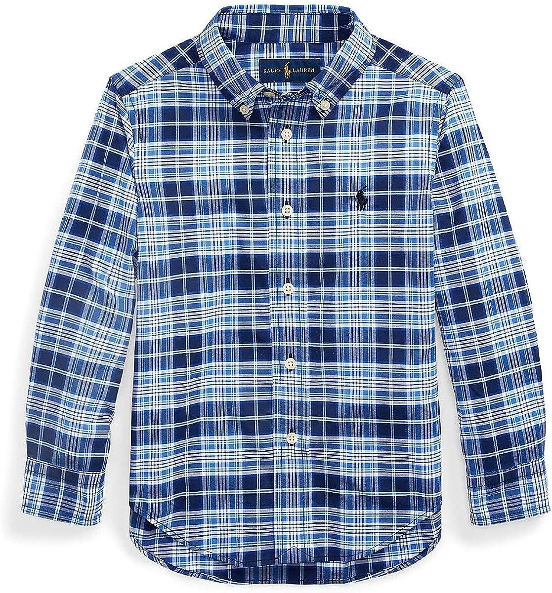 Polo Ralph Lauren Blue/White Multi Boys Plaid Performance Poplin Shirt, US