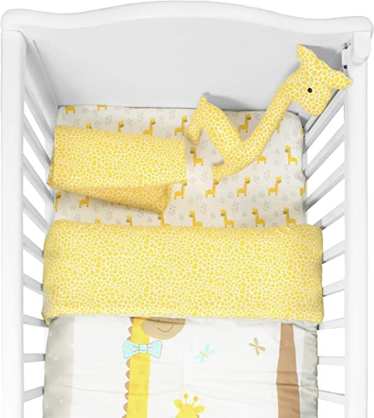 Cuddles Cribs Nursery Bedding Crib In A Bag 100 Organic Cotton Crib Sheets 100 Polyester Reversible Comforter And Shaped Cushion 4 Piece Happy Giraffe