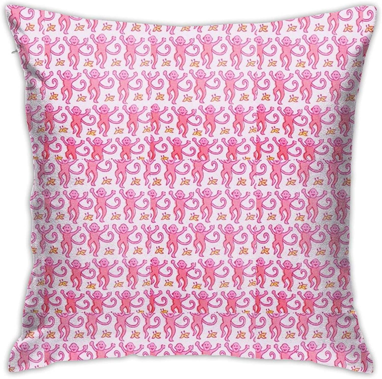 Melinde Pink Roller Rabbit Monkeys Pillow Case Square Soft Pillowcase Throw Pillow Cover Home Decor for Living Room Sofa Car Cushion Cover 18