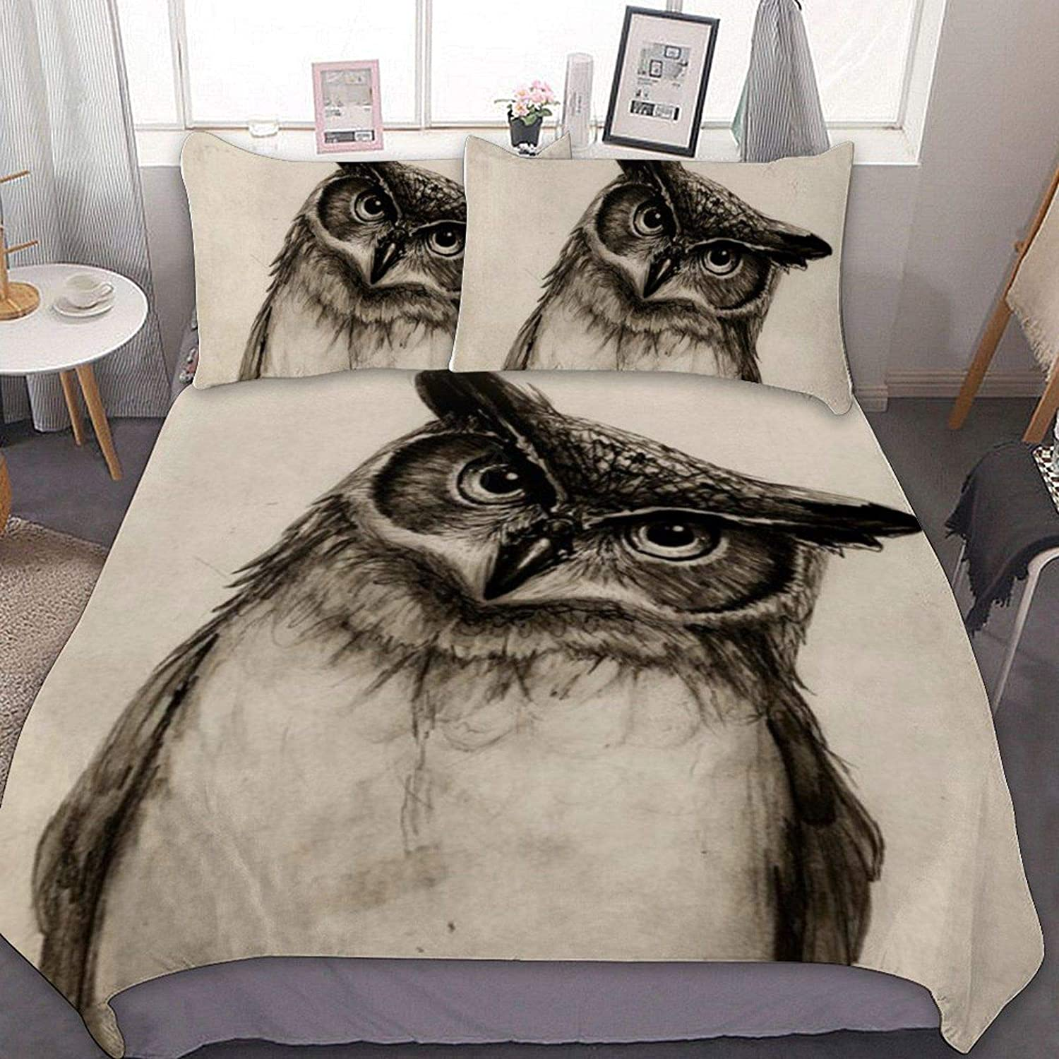 Bedding Set - 3 Piece Owl Pillow with In a popularity Popular overseas Shams Sketch Comforter