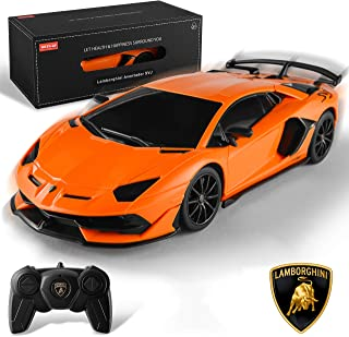 BEZGAR Officially Licensed RC Series, 1:24 Scale Remote Control Car Lamborghini Aventador SVJ Electric Sport Racing Hobby Toy Car Model Vehicle for Boys Kids Teens and Toddler, Xmas Gifts