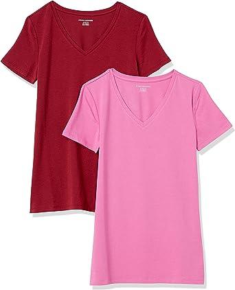 Amazon Essentials Damen Kurzärmeliges T-Shirt Mit V-Ausschnitt, 2er-Pack