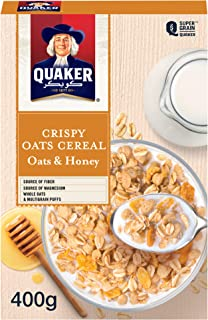 Quaker Crispy Oats Cereal, Oats & Honey, 400g