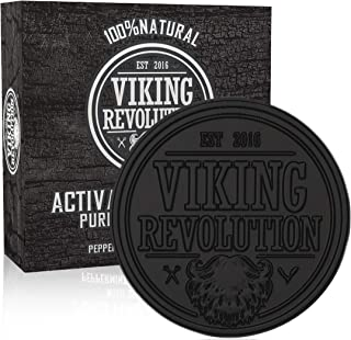 Viking Revolution Activated Charcoal Soap for Men w/Dead Sea Mud – Men's Body and Face Soap – Manly Black Facial Care Soap Bar to Cleanse Blackheads - Peppermint & Eucalyptus Scent (1 Pack)
