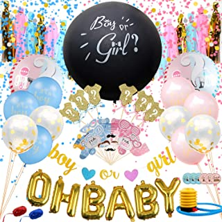 Satkago Gender Reveal Party Supplies 134 Pcs with Gender Reveal Balloon, Boy or Girl Glitter Banner, Mylar Balloons, Golden Confetti Balloons, Paper Tassels, Photo Booth Props and Cupcake Toppers