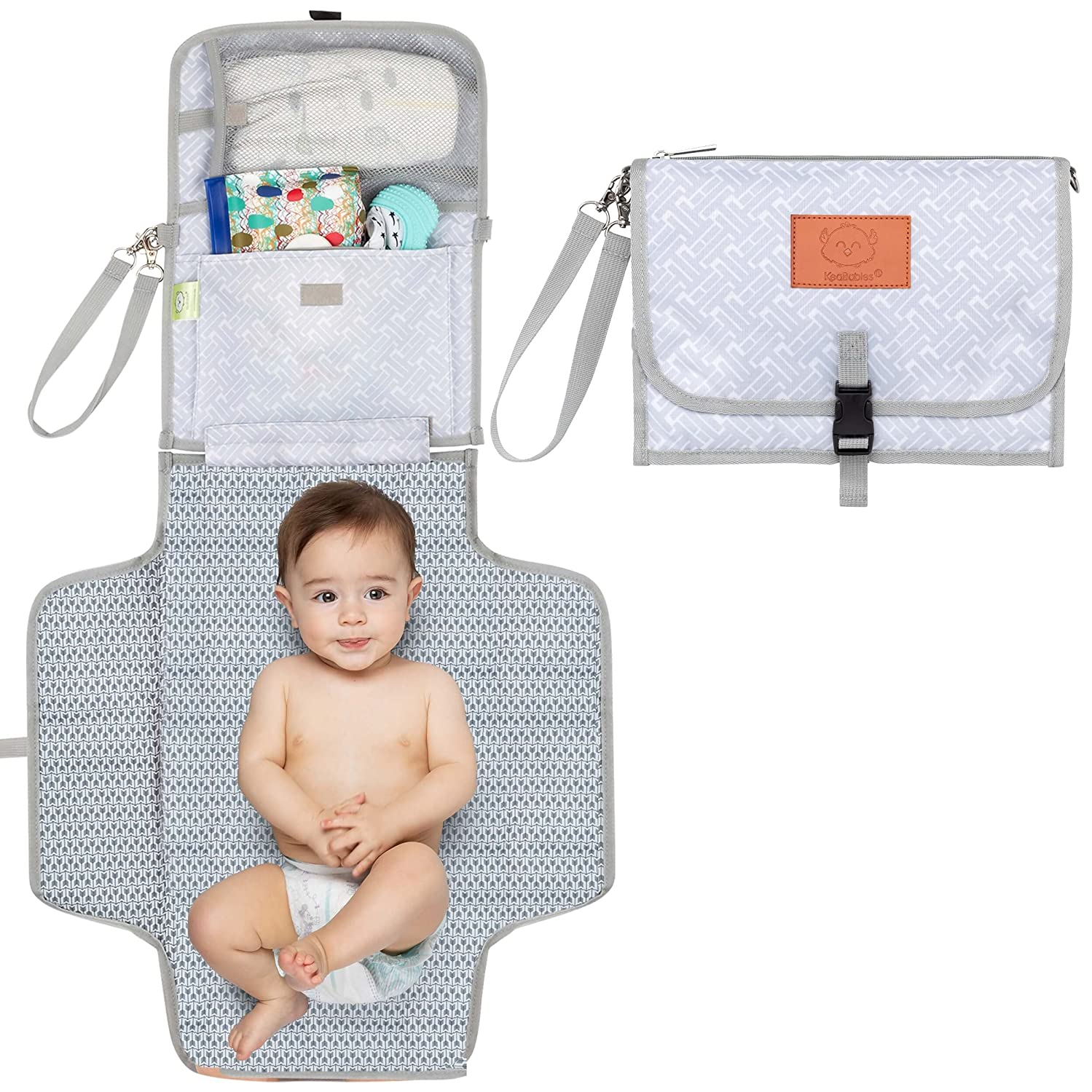 Portable Baby Diaper Changing Pad - Waterproof Diaper Changing Mat - Folding Diaper Changing Station - Travel Diaper Change Pads - Changing Clutch - Detachable Stroller Hooks (Gray Mod)