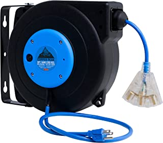 self retracting extension cord reel