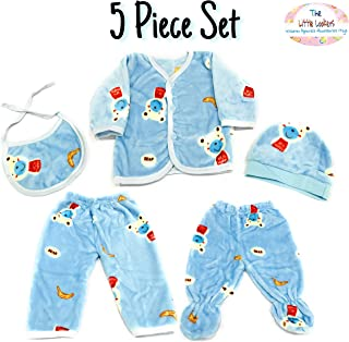 The Little Lookers™ Premium Quality Soft Feel Top Pyjama with Cap and Bib Set for New Born Babies/Infants/Toddlers (0-3 Months) Print May Vary (Soft Fur Blue)