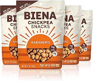 BIENA Chickpea Snacks, Habanero | Gluten Free | Vegan | Dairy Free | Plant-Based Protein (4 Pack)