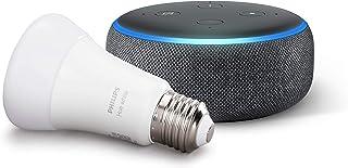 Echo Dot (3ª generazione, tessuto antracite) + Philips Hue White Lampadina LED Connessa, Attacco E27, Dimmerabile, Luce Bi...
