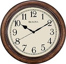 ساعة حائط دائرية من خشب البلوط الداكن مقاس 16 بوصة من بولوفا أوبروك