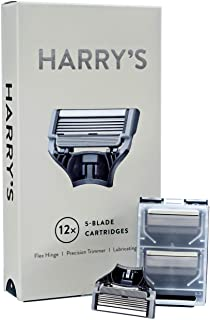 Harrys Razor Blades (3 Packs of 4) in Durable Hinged Water Friendly Travel Cases
