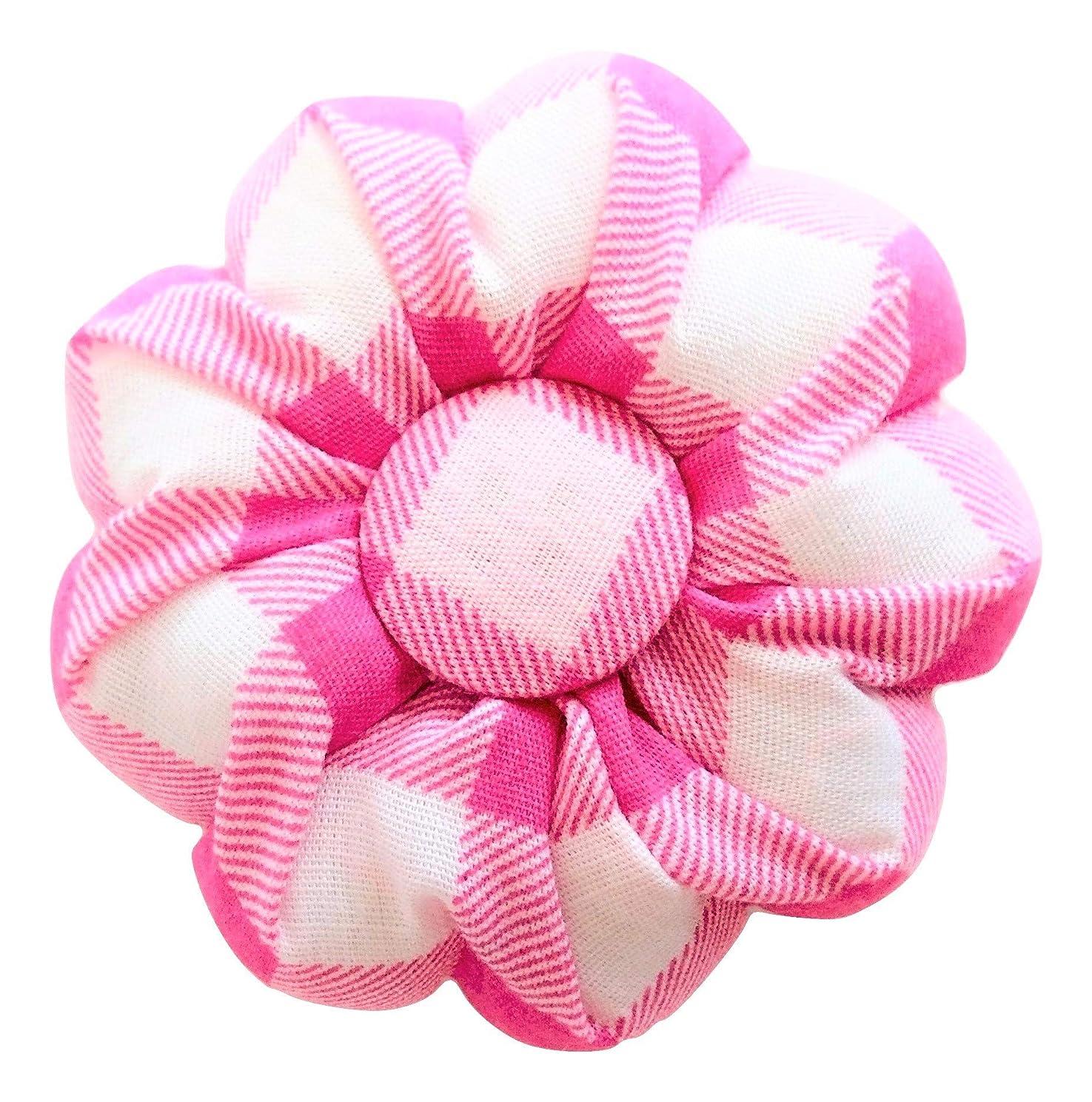 Pink Pin Needle Cushion Sewing White Buffalo Plaid Tartan Cute Small Size Pumpkin Sewing Pincushions Sweet Lovely Girl Women Gift Craft Handmade Quilting