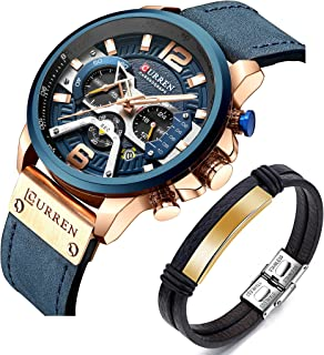 Set CURREN Watches Men Quartz Leather Chronograph Watch and Fashion Bracelet Military Design Wristwatch Gifts