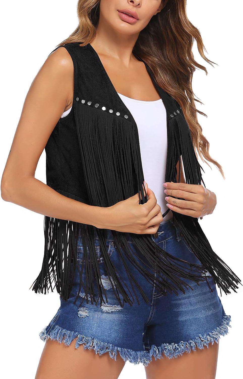 HOTLOOX Women Tassel Vest 70s Hippie Faux Suede Rivets Sleeveless Fringe Jacket S-XXL