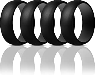 Mens Silicone Rings Wedding Bands - 4 Pack Classic & Striped Style - 8.7 mm Wide - 2.5mm Thick