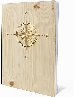Anteckningsbok med träomslag i A5 – KOMPASS – anteckningsbok av äkta trä för att skriva in furu träomslag 192 blanko sidor...